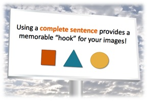 "Billboard sign: ""Using a complete sentence provides a memorable hook for your images!"""