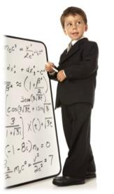 A boy teaching advanced math
