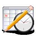Calendar, clock, and pencil