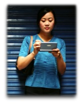Woman checking her mobile device