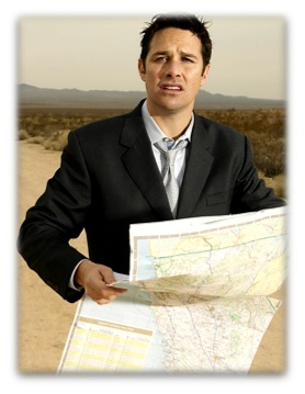 Man with a map lost in a remote location