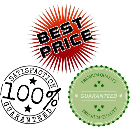 "Logos stating ""Best price"" and ""100% guaranteed"""