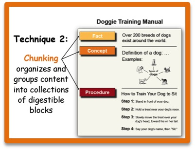 Technique 2: Chunking organizes and groups content into collections of digestible blocks