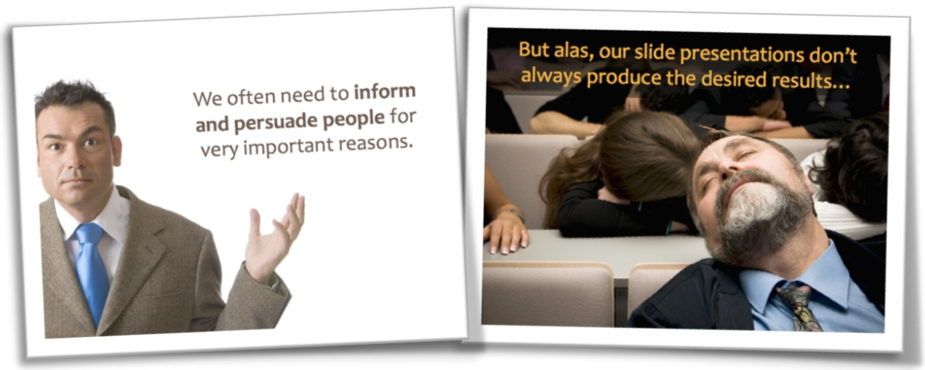 Two examples of slides with text captions on high-contrast backgrounds