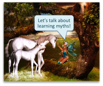 "Fairy saying to two unicorns: ""Let's talk about learning myths!"""