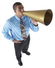 Man with a bullhorn