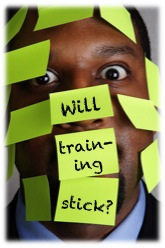"""Man covered with sticky notes that say, """"Will training stick?"""""""