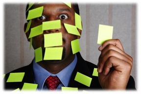 Man covered with sticky notes