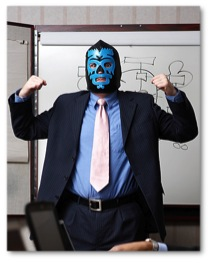 Bad manager wearing a blue warrior mask