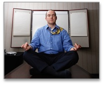 Good manager sitting in a meditation pose