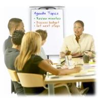 Meeting leader using an agenda