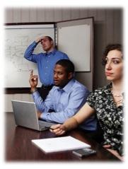Team conducting a tense meeting