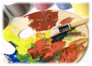 A palette of colorful paints