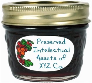 """Jar of preserves with the label, """"Preserved intellectual assets of XYZ Co."""""""