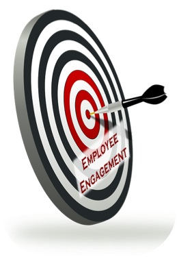 "Arrow hitting a target that goes past ""employee engagement"""