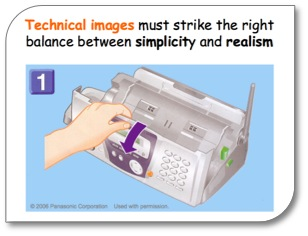 "Fax machine with caption: ""Technical images must strike the right balance between simplicity and realism"""