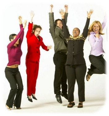 Company employees jumping for joy