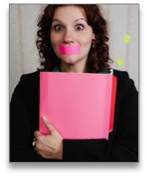 Woman holding a folder with tape over her mouth
